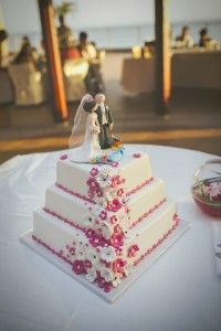 White & Pink 3 tier wedding cake gran canaria